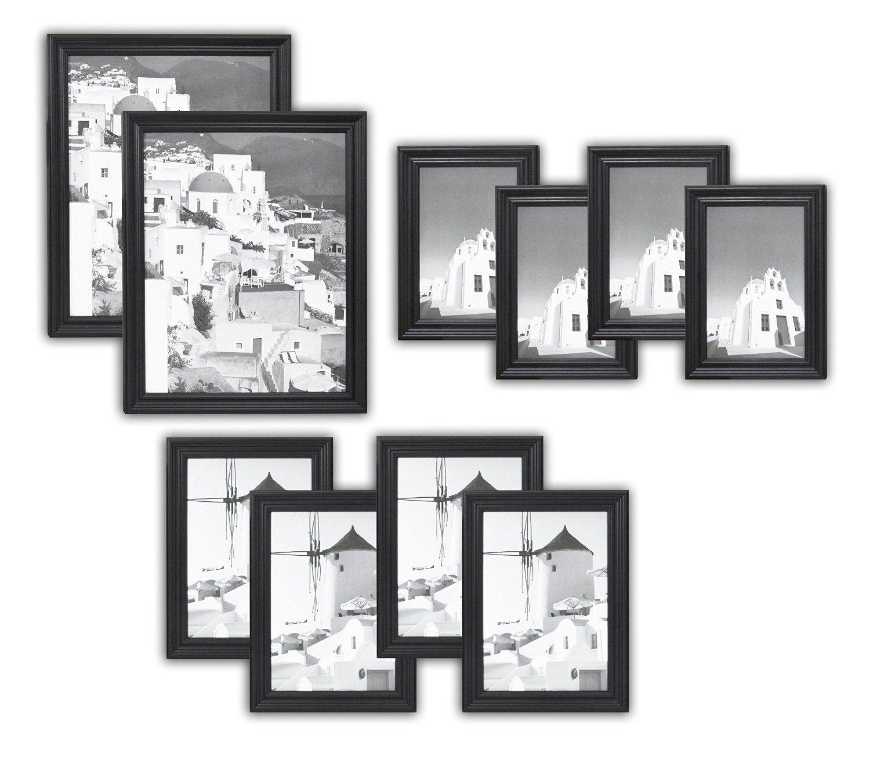 Golden State Art, Set of 10, Solid Wood Photo Frames, Black