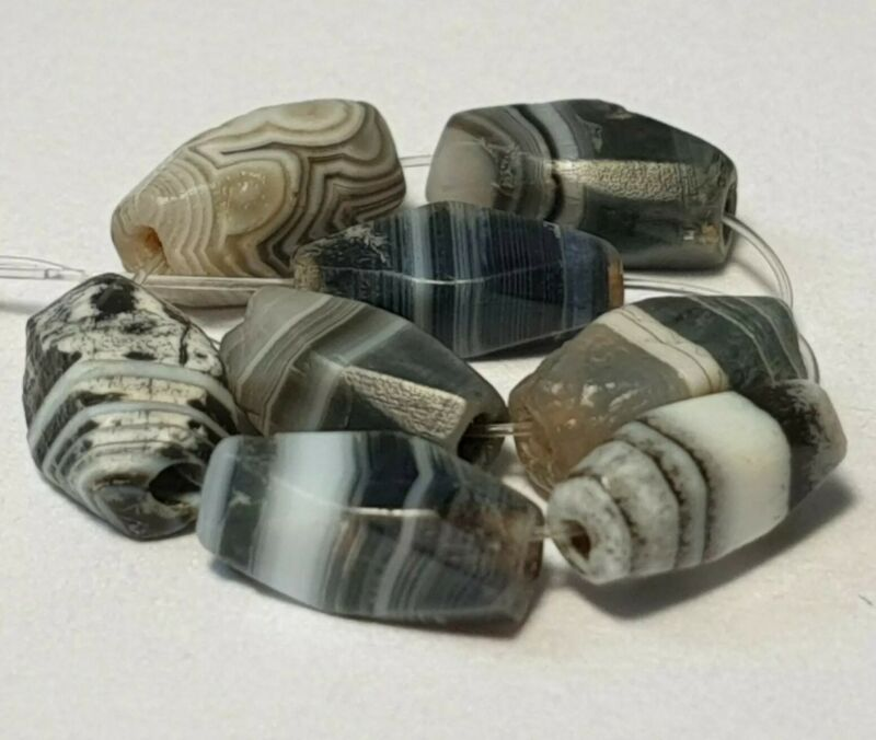 8 ANCIENT RARE INDO-TIBETAN BANDED AGATE FACETED BEADS