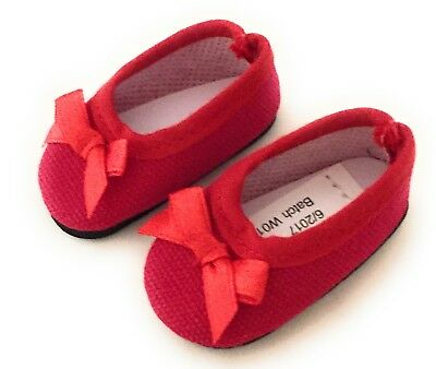 Red Ballet Flats For Girls (Red Ballet Flats Shoes w/Bow for 14 inch American Girl Wellie Wishers Dolls)