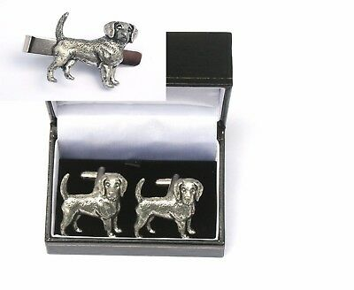 Beagle Dog Cufflinks & Tie Clip Bar Slide Set Hunting Gift