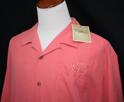 Nwt Baker Hughes Embroidered Button Front Shirt Xl 100  Silk Watermelon New