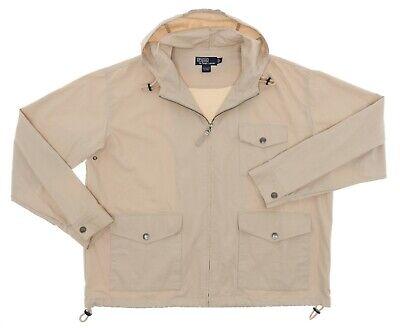 POLO RALPH LAUREN Jacket L Large Poplin Cotton Hooded Rain FIELD Jacket Vtg Coat