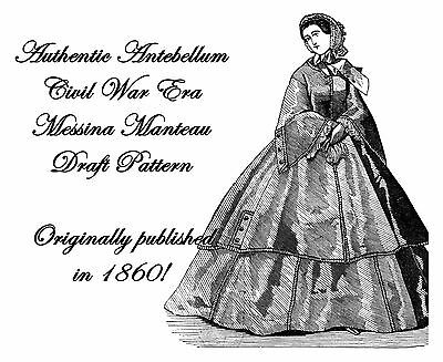 Antebellum Civil War Manteau Coat Draft Pattern 1860 Reenactment Garb Costume
