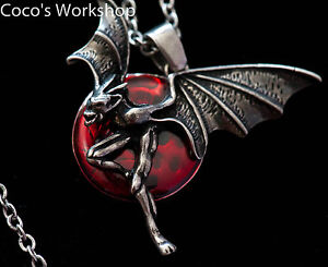 Necklace alchemy Gothic necklace jewellery red moon demon pedant necklace