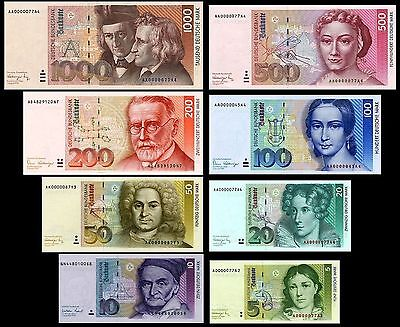 * * * 5,10,20,50,100,200,500,1000 DM Banknoten 1991 Reproduktion * * *