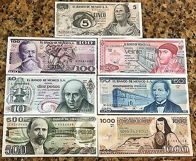 UNCIRCULATED MEXICO SET 7 BANKNOTES LOT 70'S 80'S 5 10 20 50 100 500 1000 pesos