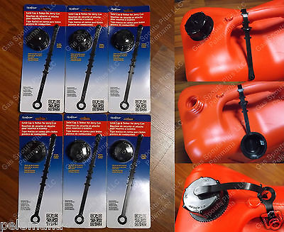 6 Solid Closed Caps Gasket Tether Gas Cans Fuel Diesel Scepter Sceptre Ameri-can