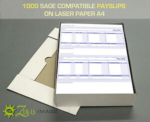 1000 SAGE COMPATIBLE PAYSLIPS ON LASER PAPER A4 210 X 297mm 2 UP