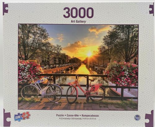 """3,000 Piece Jigsaw Puzzle - Canal of Amsterdam Landscape Bicycle  (42"""" x 32"""")"""