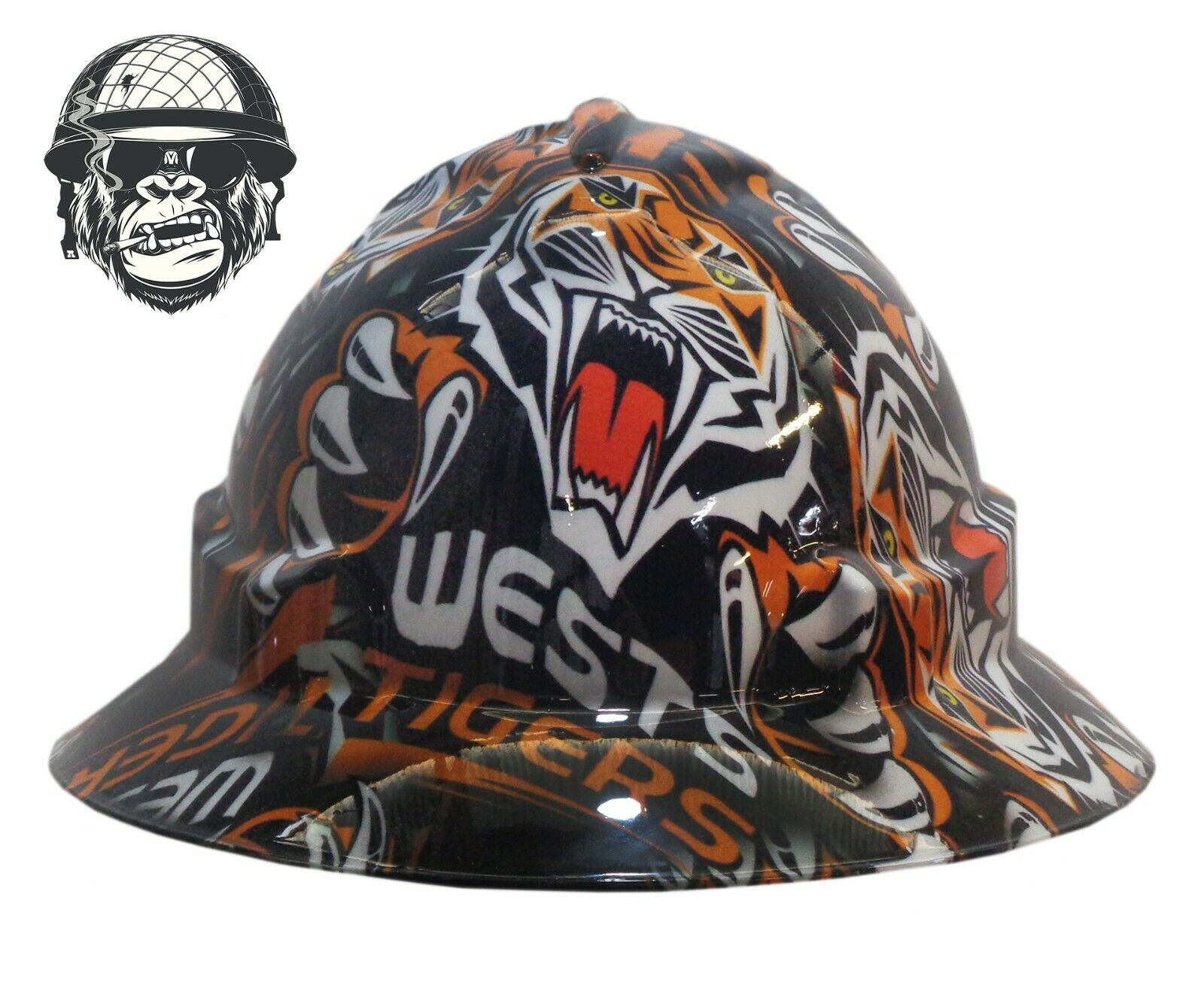 Custom Hydrographic Wide Brim Safety Hard Hat WESTS TIGERS WIDE