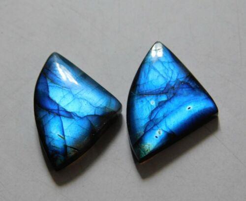 15.40 Cts Natural Labradorite (20mm X 14.5mm each) Cabochon Match Pair