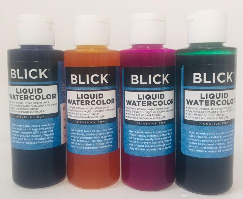 Lot Of 4 BLICK Dye Based Liquid Watercolor ~ 4 oz Bottles SEALED