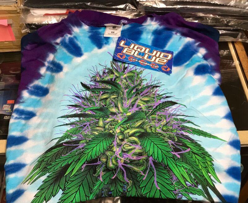 Cannabis Tye Dye XXL T-Shirt Liquid Blue New Licensed OOP Rare L@@K