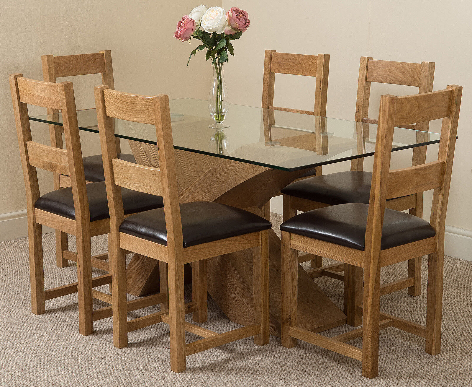 Small Dining Table Set For 4, Valencia Oak Small Glass Dining Table With 4 Or 6 Lincoln Oak Chairs Ebay