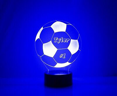 Soccer Ball Personalized FREE Light Up 3D Illusion LED Night Light