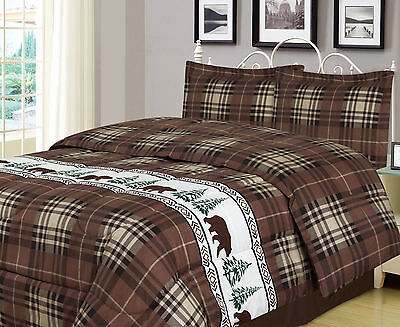 Bear Country Full Comforter - Twin, Full/Queen, or King Plaid Bear Comforter Set Rustic Cabin Lodge
