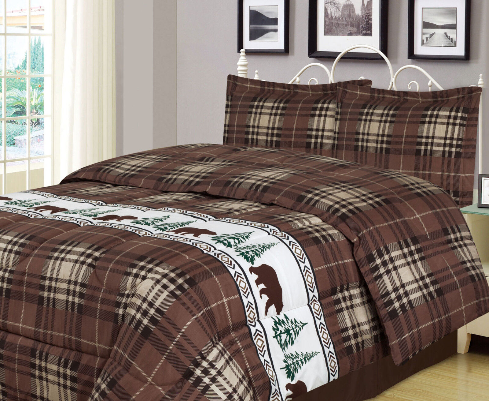 Twin, Full/Queen, or King Plaid Bear Comforter Set Rustic Cabin Lodge Bedding