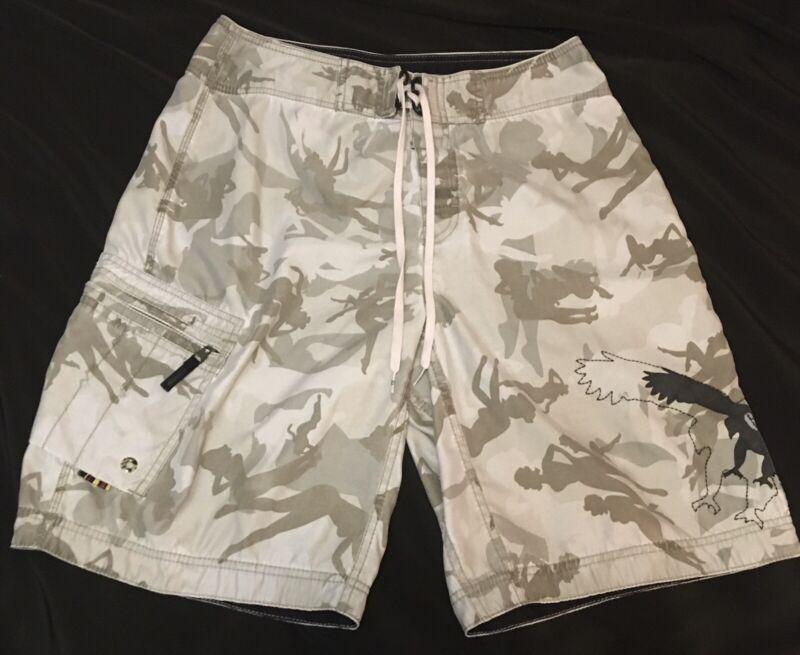 Mens Billabong Size 34 Board Shorts Army Camo Girls Eagle w/ Zippered pocket