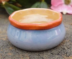 Noritake Handpainted & Marked Lusterware Open Salt Dip w/Blue, Peach, Orange!