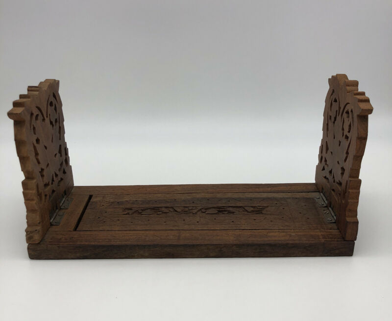 Vintage Wood Book Holder Folding Stand Rack BEAUTIFULLY Hand Carved Floral