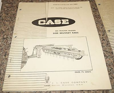 Case 401 Tractor Drawn Side Delivery Rake Parts Catalog Manual Book A865