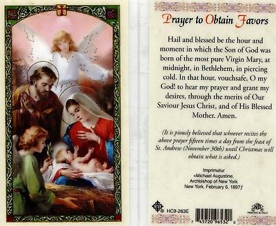 Powerful Prayer to Obtain Favors Laminated Card, Hail and Blessed Be The Hour