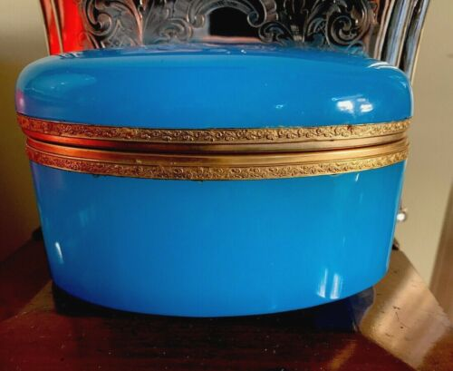 Antique French Blue Opaline Glass Box Caddy