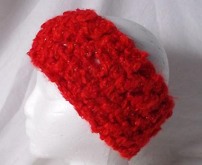 Crochet Headband Earmuff Warm & Cozy-Fall Red/Silver-Handmade Pizazz Creations ()