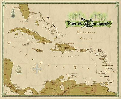 Pirates of the Caribbean Wall Map Mural and Poster