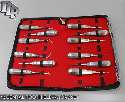 12 Dental Tooth Elevators Set Surgical Dental Instruments