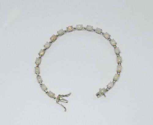 """STS Chuck Clemency Sterling Silver Opal Tennis Bracelet ~ 7 5/8"""""""