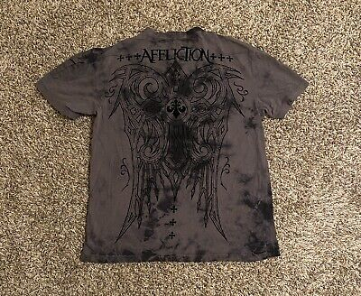 Affliction Men's T-Shirt Large Gray Black Stitched Skull Shied Wings S/S Henley