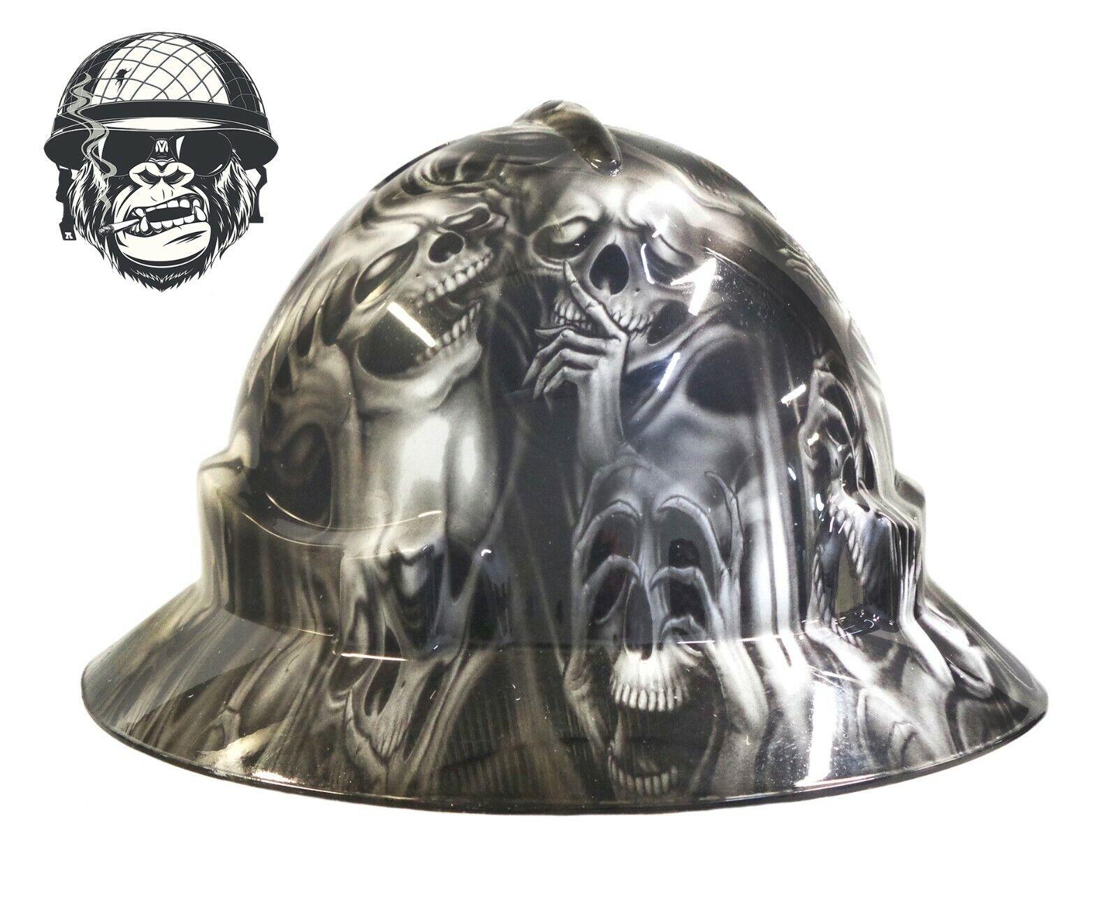 Custom Hydrographic Wide Brim Safety Hard Hats Grey GHOST WIDE