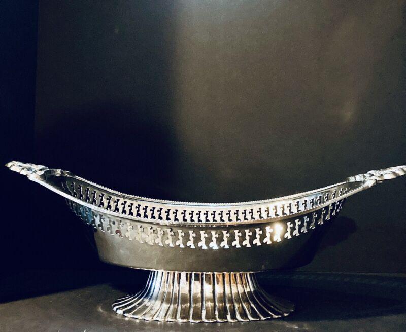 Fabulous 1960s Hollywood Regency Pierced Silverplate Fruit & Centerpiece Gondola