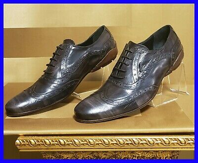 NEW VERSACE COLLECTION BROWN LEATHER OXFORD SHOES with PATTERN 42 - 9