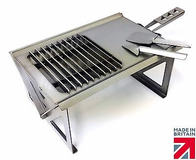 Volcann Portable Flatpack Fire Pit Charcoal BBQ + Cooktop