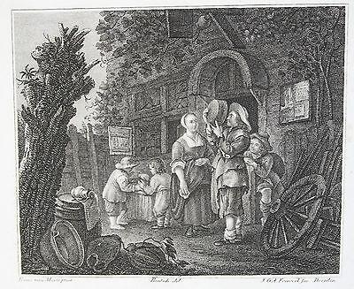DER KESSELFLICKER-Kupferstich von J.G.A.Frenzel nach van Mieris um 1810