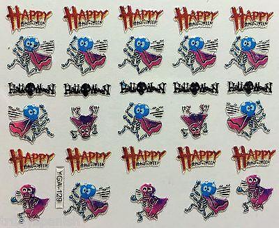 Halloween 3D Nail Art Stickers Decoration Dancing Skeleton Happy Halloween Y129 (3d Happy Halloween)