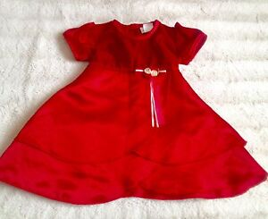 POSSIBLE DELIVERY RUBY Red Velvet & Satin Dress18mo