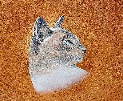 Vintage MCM Lily Alexander Enamel Shallow Bowl Wall Art Lady of Siam Siamese Cat
