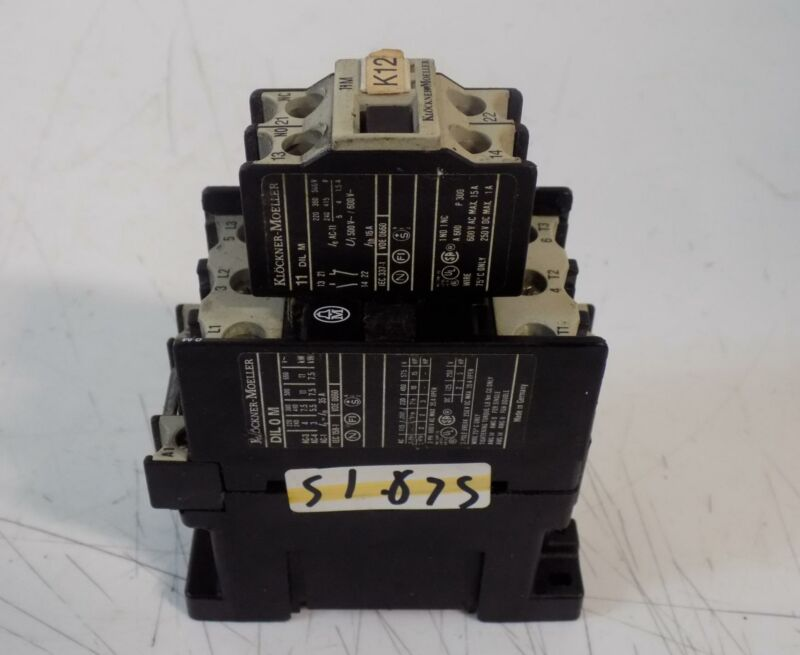 KLOCKNER MOELLER DIL 0 M CONTACTOR W/11 DIL M AUXILIARY
