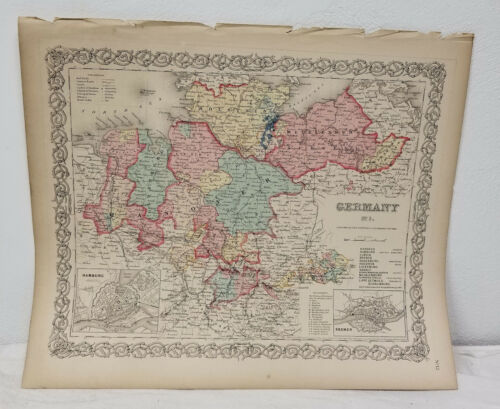 Antique Vintage Hand Colored Lithograph Map Atlas Germany Colton