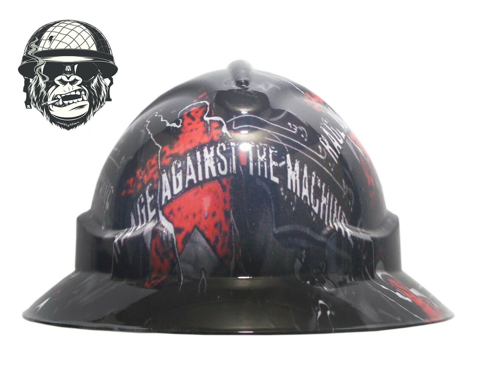 Custom Hydrographic Safety Hard Hat Rock Music Band RAGE AGAINST THE MACHINEWIDE