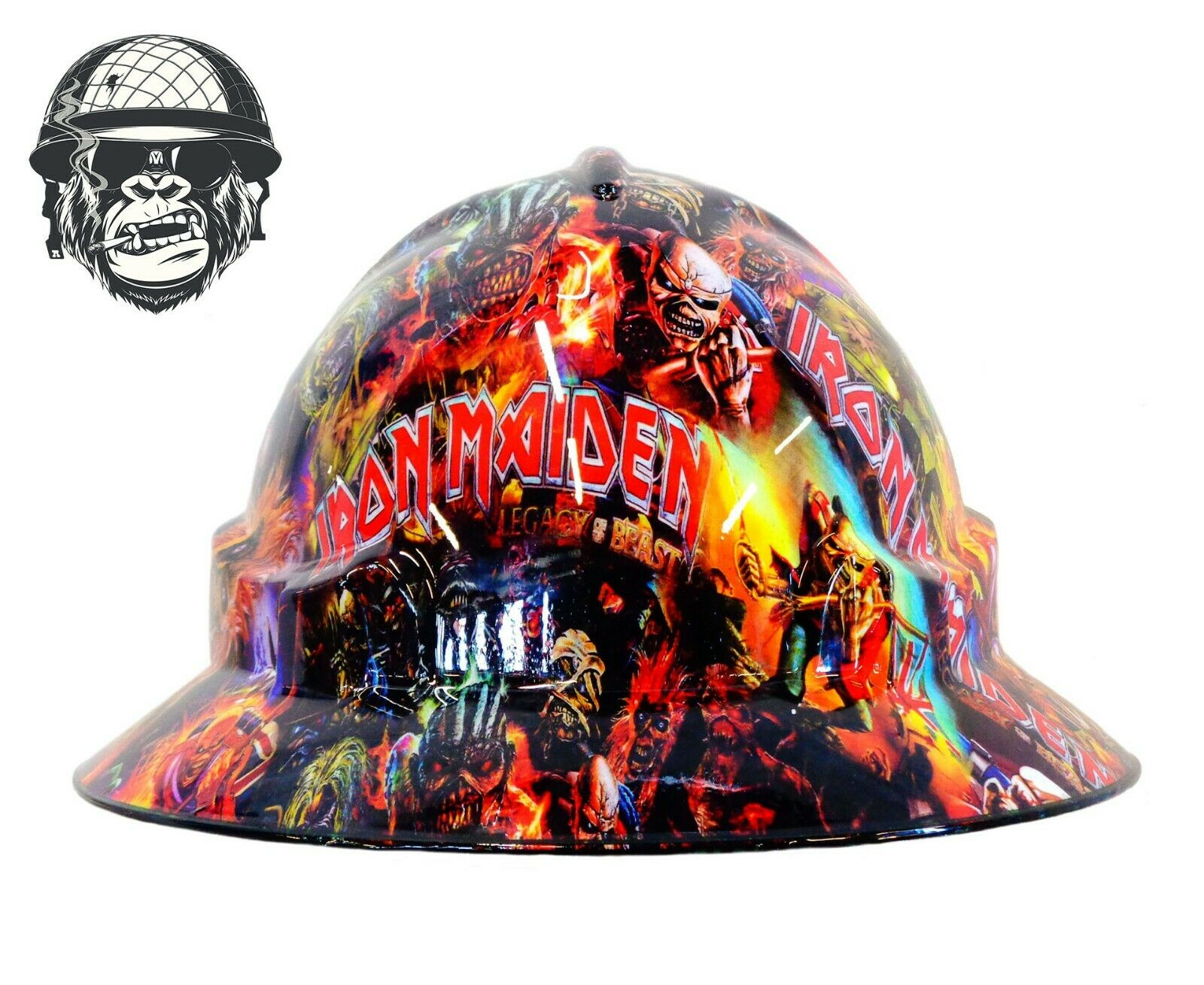 Custom Hydrographic Wide Brim Safety Hard Hats IRON MAIDEN WIDE