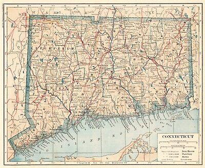 - 1921 Antique CONNECTICUT MAP Vintage Map of Connecticut State Map 5157