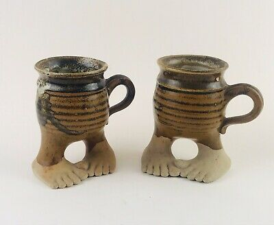 Set of 2 Vintage Five Bridges 1979 Pottery Bare Feet Mugs with Handles Steins
