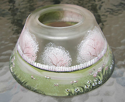 fine old frosted glass painted flower garden lamp shade