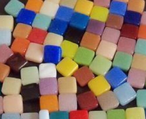 8 mm Recycled Glass Mosaic Tiles - 100 Tiles - Mixed Colors - 4 mm thick