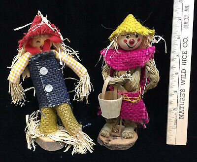 Scarecrow Figurines Handmade Crafted Wood Straw 7