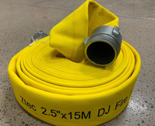 "HEAVY DUTY FIRE HOSE 2.5""X50ft double jacket 250PSI NH threads"